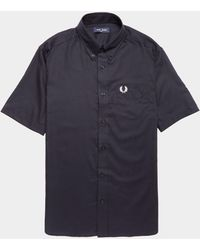 Fred Perry Oxford Short Sleeve Shirt Navy Blue