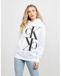 Calvin Klein Mirror Logo Hoodie White