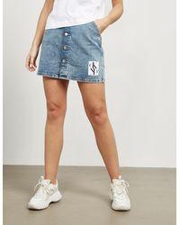 Calvin Klein Button Down Skirt - Blue