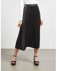 BOSS by Hugo Boss A-line Plissé Skirt In Stretch Velvet - Black