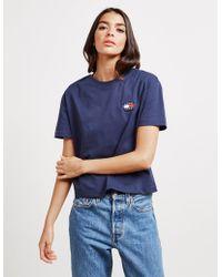 Tommy Hilfiger Badge Crop Short Sleeve T-shirt Navy Blue