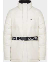Calvin Klein Logo Belt Puffer Jacket White