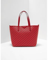 Karl Lagerfeld Stripe Logo Shopper Bag Red
