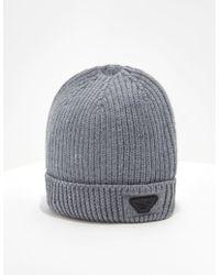 Emporio Armani - Mens Wool Beanie Grey - Lyst