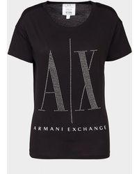 Armani Exchange Large Studded Logo T-shirt Black