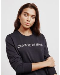 Calvin Klein - Womens Logo Sweatshirt Black - Lyst