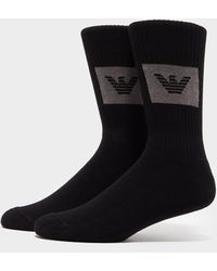 Emporio Armani 2 Pack Logo Socks Black