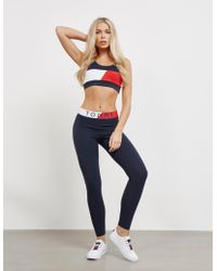 Tommy Hilfiger - Womens Colour Blocked Waistband Leggings Navy Blue - Lyst