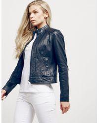 BOSS - Womens Janabelle Leather Jacket Navy Blue - Lyst