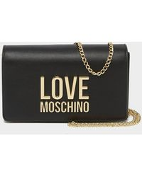 Love Moschino Letter Chain Flap Bag - Black