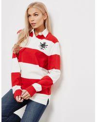 7c11e5b1b7546 Polo Ralph Lauren - Stripe Rugby Long Sleeve Polo Shirt Red - Lyst