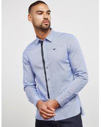 Emporio Armani - Mens Tipped Placket Long Sleeve Shirt Blue - Lyst