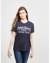 Polo Ralph Lauren - Womens Embroidered Logo Short Sleeve T-shirt Navy Blue  - Lyst