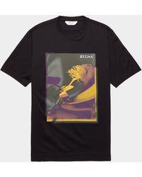 Z Zegna Floral Print Short Sleeve T-shirt - Black