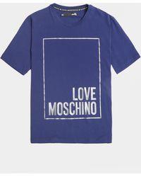 Love Moschino Stripe Box Short Sleeve T-shirt Blue