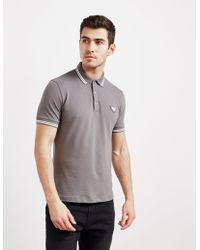 Emporio Armani - Mens Tipped Badge Short Sleeve Polo Shirt Grey - Lyst