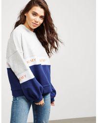 Tommy Hilfiger - Womens Colour Block Sweatshirt Blue - Lyst