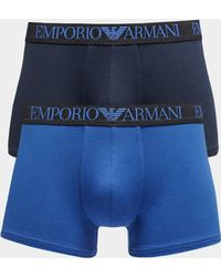 Emporio Armani - Mens 2-pack Endurance Boxer Shorts Blue - Lyst