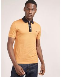 Fred Perry - Mens Raf Simons Contrast Short Sleeve Polo Shirt Orange - Lyst