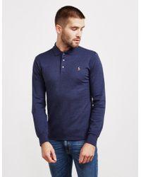 Polo Ralph Lauren Stretch Long Sleeve Polo Shirt Navy Blue