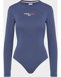Tommy Hilfiger Linear Logo Bodysuit Blue