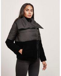 Emporio Armani Contrast Crop Puffer Jacket Black