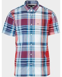 Tommy Hilfiger Madras Short Sleeve Check Shirt Multi - Red