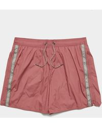 Emporio Armani Logo Tape Swim Shorts Pink
