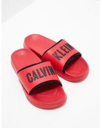 Calvin Klein - Womens Slides Women's Red - Lyst