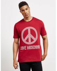 Love Moschino Stud Peace Short Sleeve T-shirt Red