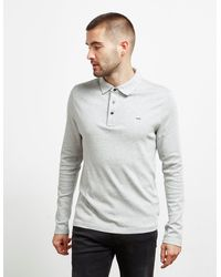 Michael Kors Sleek Long Sleeve Polo Shirt Gray