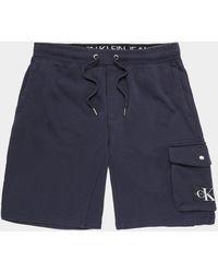 Calvin Klein Monogram Badge Fleece Shorts Navy Blue
