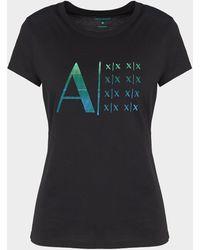 Armani Exchange Multiple Logo T-shirt - Black