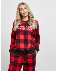 Calvin Klein - Check Long Sleeve Lounge Top Red - Lyst