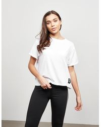 DKNY Track Logo Crop Short Sleeve T-shirt White