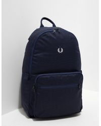 Fred Perry - Mens Twill Check Rucksack Navy - Lyst