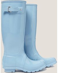 HUNTER - Womens Tall Gloss Boot Blue - Lyst