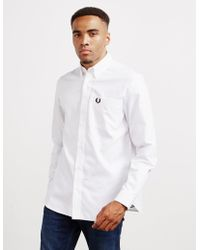 Fred Perry Oxford Long Sleeve Shirt White/black