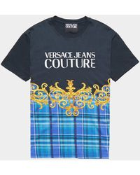 Versace Jeans - Logo Check Short Sleeve T-shirt Black - Lyst