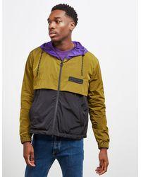 AMI Panel Windbreaker Jacket Olive/black/purple
