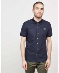 1a68a3d5578 Fred Perry - Knitted Collar Short Sleeve Oxford Shirt Navy Blue - Lyst