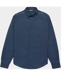 Emporio Armani Tip Shoulder Long Sleeve Shirt Navy Blue