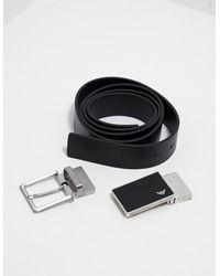Emporio Armani Square Buckle Belt Gift Set Black