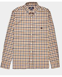 Aquascutum York Club Check Long Sleeve Shirt - Exclusive - Exclusively To Tessuti Brown