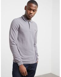 Fred Perry - Mens Twin Tipped Long Sleeve Polo Shirt Grey - Lyst