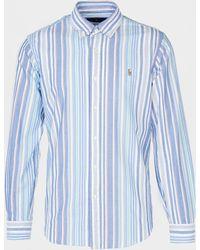 Polo Ralph Lauren Run Stripe Long Sleeve Cuffed Shirt - Blue