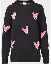 BOSS by Hugo Boss All Over Heart Logo Sweatshirt - Black