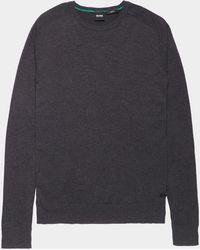 BOSS Kamiox Crew Knit Sweater Charcoal - Gray