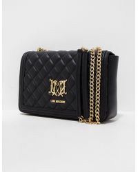 Love Moschino Quilted Special Badge Shoulder Bag - Black