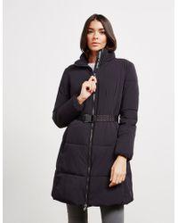 Emporio Armani Long Belted Padded Jacket Black